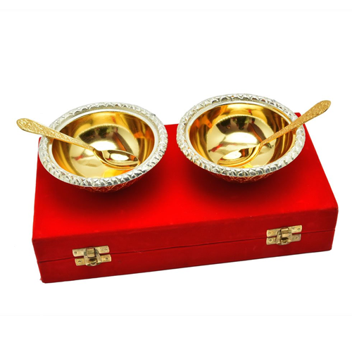 "Silver & Gold Plated Brass Bowl 5"" Diameter"