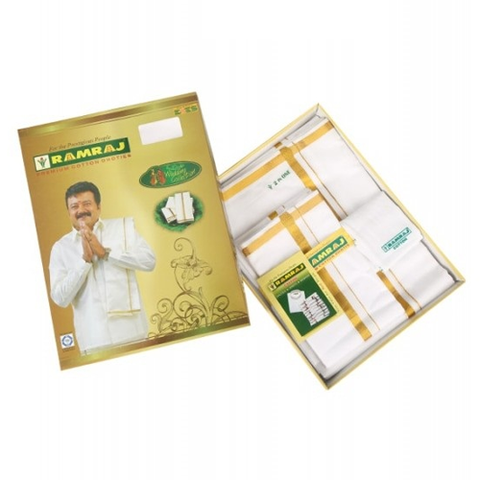 Cotton White Dhoti and Towel Set