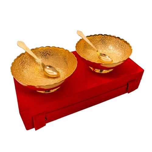 "Gold Plated Brass Middle Peacock Carving Bowl Set 4 Pcs. Bowls 6"" Diameter"
