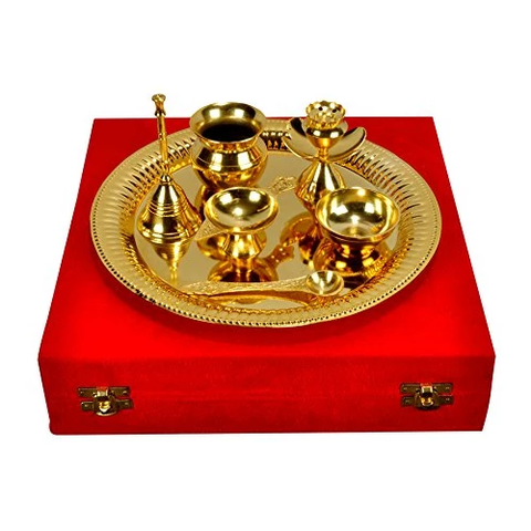 "Gold Plated Steel Pooja Thali 11.5"" Diameter with Brass Bell"