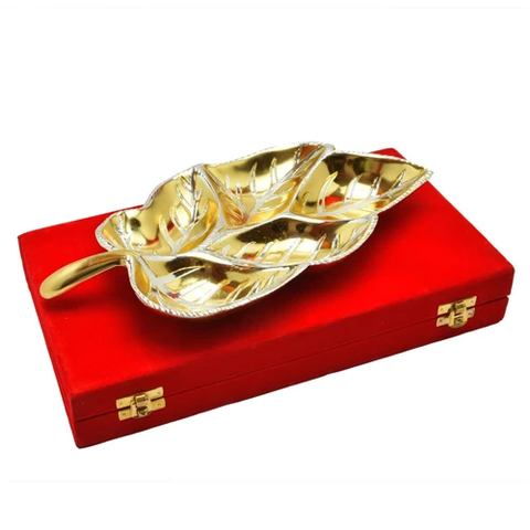 "Gold & Silver Plated Brass Big Leaf Platter 12"" x 6"""