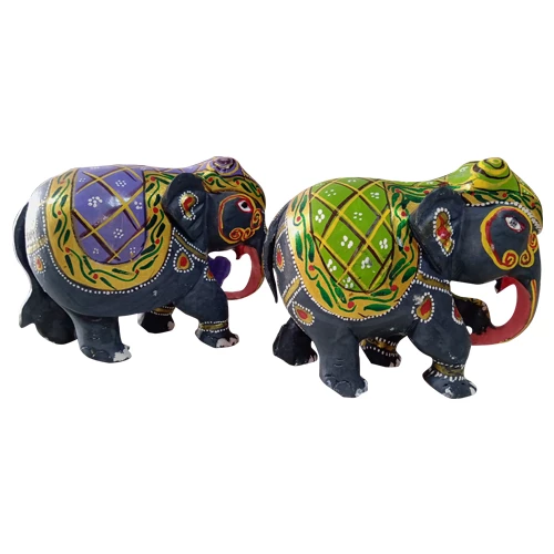 Kondapalli Toys Natural Colour Painted Elephants