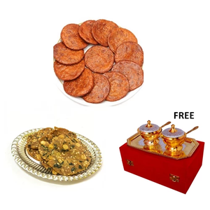 Pappu Garelu & Ariselu 1kg Each with Gold/Silver Plated Mouthfreshner Set Free