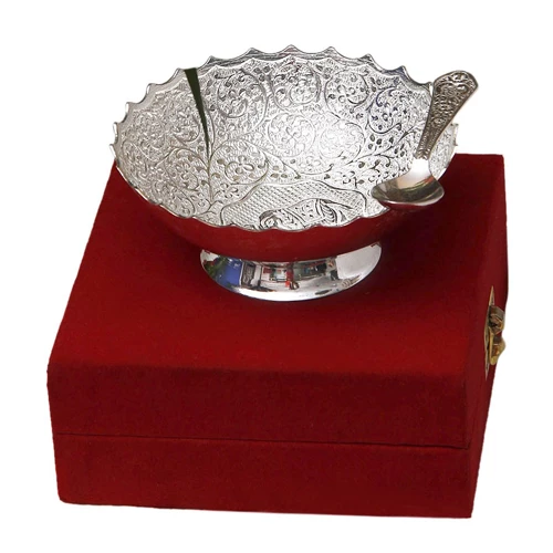 "Silver Plated Brass Bowl Middle Elephant Carving (5"" Diameter)"