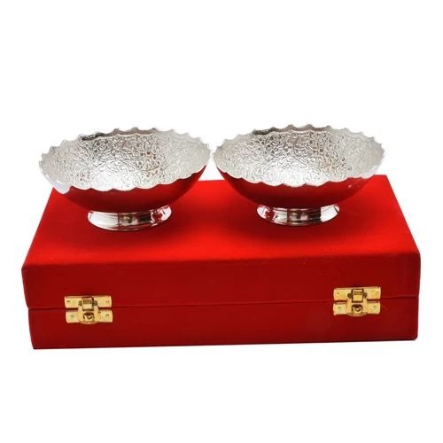 "Silver Plated Brass Bowl Set 2 Pcs. 5"" Diameter"