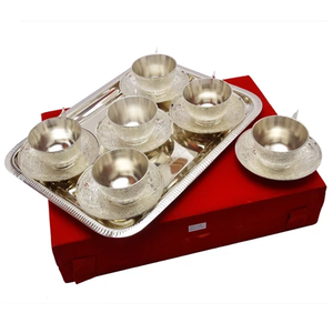 "Silver Plated Brass Cup & Saucer Set 7 Pcs. ( Cup 3"" Diameter & Tray14"" x 10 "" Diameter)"