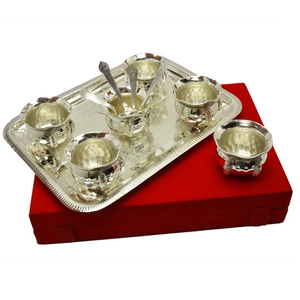 "Silver Plated Brass Handi set 13 Pcs. (Handi 3.5"" Diameter & Tray 14"" x 10"")"