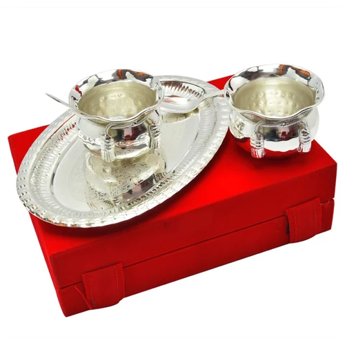 "Silver Plated Brass Handi Set 5 Pcs. ( Handi 3.5"" Diameter & Tray 9.25'' x 6.25'')"