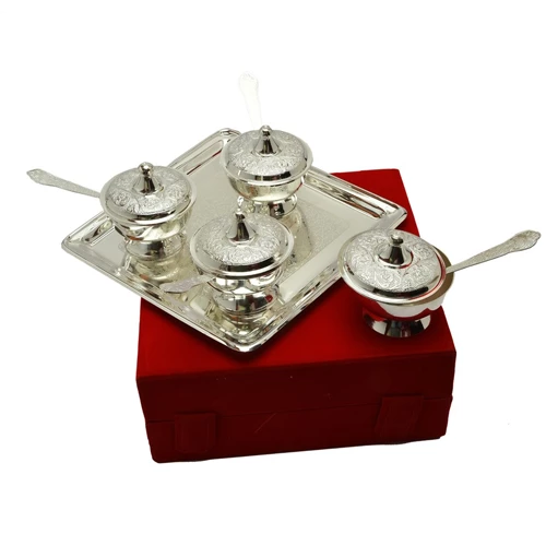 "Silver Plated Brass Mouthfreshner Set 9 Pcs. (Bowls 3'' Diameter & Tray 8.75"" x 8.75"")"