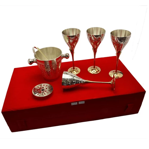 "Silver Plated Brass Wine Glass With Ice Cube Tub ( Glass 9"" x 3.25 Diamter)"