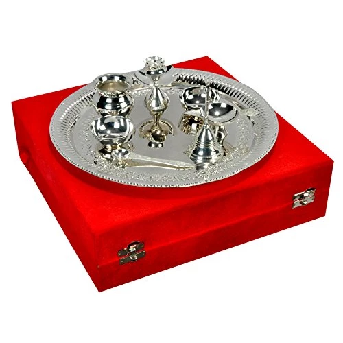 "Silver plated Steel Pooja Thali 11.5"" Diameter With Brass Bell"