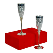 "Silver Plated Wine Glass Set (8.75"" x 3.25"" Diameter)"