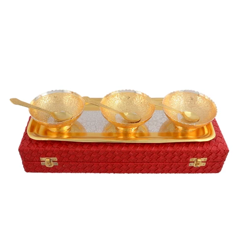 "Silver & Gold Plated Bowl Peacock Carving Set 7 Pcs. (Bowl 4"" Diameter & Tray 13"" x 5.5"")"