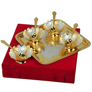 "Silver & Gold Plated Bowl Set 9 Pcs. ( Bowls 4"" Diameter & Tray 10""x10"")"
