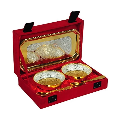 "Silver & Gold Plated Brass Bowl Set 5 Pcs. (Bowls 3.5"" Diameter & Tray 9.5"" x 5.5"")"