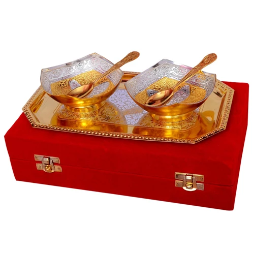 "Silver & Gold Plated Brass Bowl Set 5 Pcs. (Bowls 4"" Diameter & Tray 9.5"" x 5.5"")"