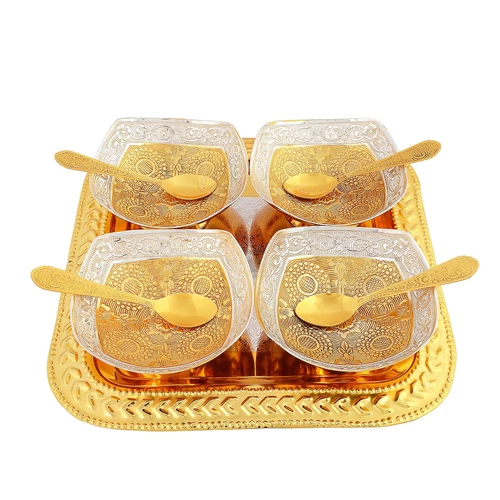 "Silver & Gold Plated Brass Bowl Set 9 Pcs. (Bowl 4.75"" & Tray 10"" x 10"")"