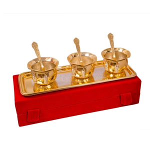 "Silver & Gold Plated Brass Handi Set 7 Pcs. (Handi 3.5"" Diameter & Tray 13"" x 5.5"")"