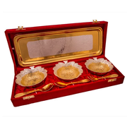 "Silver & Gold Plated Brass Leave Bowl Set 7 Pcs. (Bowl 4"" Diameter & Gtray 13"" x 5.5"")"