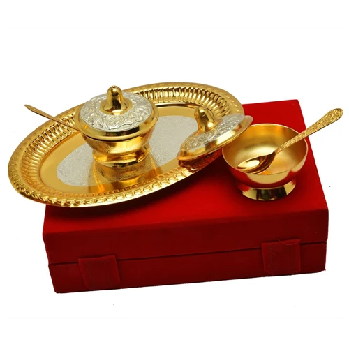 "Silver & Gold Plated Brass Mouthfreshner Set (Bowls 3'' Diameter & Tray 9.25"" x 6.25"")"