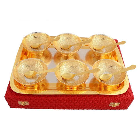 "Silver & Gold Plated Brass Peacock Carving Bowl Set 13 Pcs. (Bowl 4"" Diamter & Tray 15.5"" x 12"")"