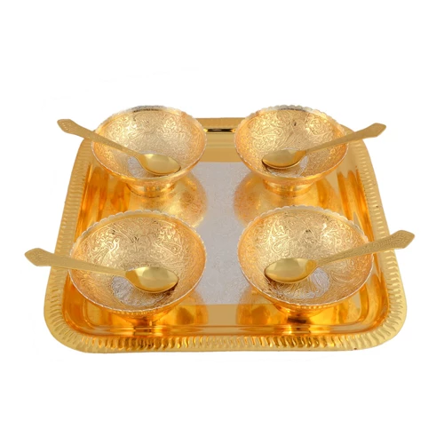 "Silver & Gold Plated Brass Peacock Carving Bowl Set 9 Pcs. (Bowl 4"" Diameter & Tray 10"" x 10"")"