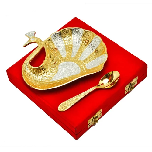 "Silver & Gold Plated Brass Peacock Platter 4.5"" x 5.5"""