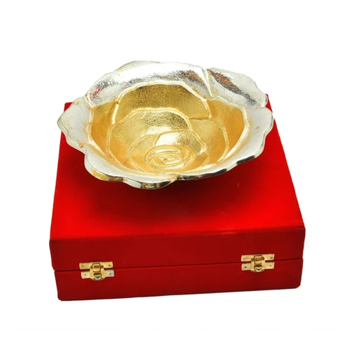 "Silver & Gold Plated Brass Sheet Rose Flower Bowl 8"" Diameter"