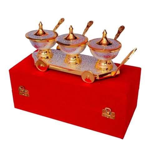 "Silver & Gold Plated Brass Trolley Mouthfreshner Set ( 11"" x 4"") Bowl 3"" Diameter"