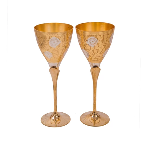 "Silver & Gold Plated Brass Wine Glass Set ( 3.25"" Diameter x 8.5"")"