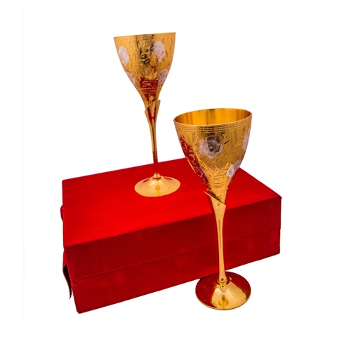 Silver & Gold Plated Brass Wine Glass Set (8.5'' x 3.25'')