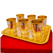 "Silver & gold Plated Glass Set 7 Pcs. (Glass 2.75"" x 4"" & Tray 15.5"" x 12"")"