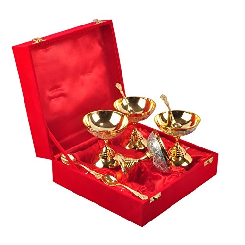 "Silver & Gold Plated Ice Cream Bowl Set 8 Pcs.( Bowl 3.5"" x 3.5"" Diameter)"