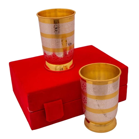 Silver & Gold Plated Regular Water Glass set 2 Pcs. 2.75'' x 4''