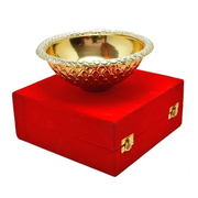 Silver & Gold Plated Serving Bowl 7'' Diameter