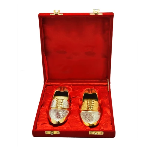 Silver & Gold Plated Shoe Shaped Ash Tray 2 Pcs. 6""