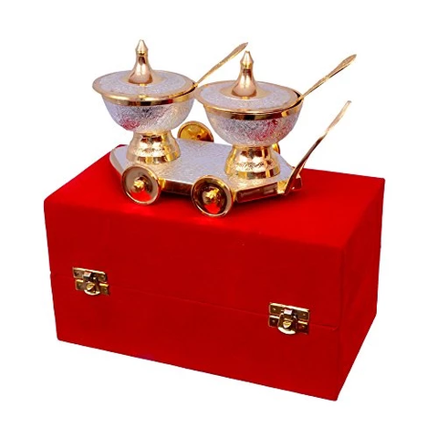 "Silver & Gold Plated TACle Trolley Set 8"" X 4"" & Bowl 3"" Diameter"