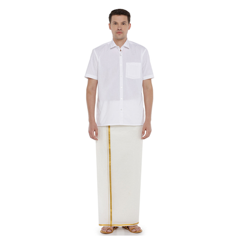 Star Gold Cream 1-2 inch Border Dhoti