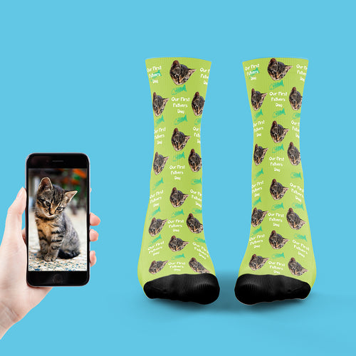 Our First Fathers Day Cat Socks