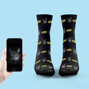 The Force Is Strong With This One, Printed Socks With Your Cats Face!