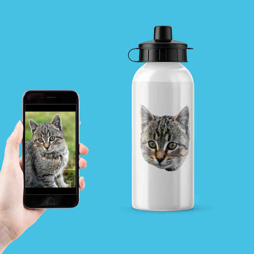 Cat Photo Metal Sports Flask