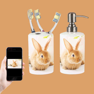 Your Rabbit Photo On A Soap & Toothbrush Holder Set