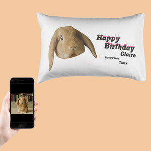 Happy Birthday From The Rabbit Pillowcase