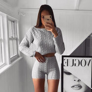 O-neck Knitted Long Sleeve Crop Sweater and Shorts Two-piece Set