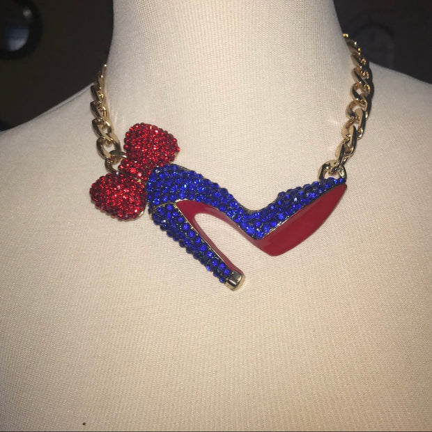 Blue Red Bottom Necklace