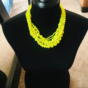 Neon Yellow Beaded Necklace Set