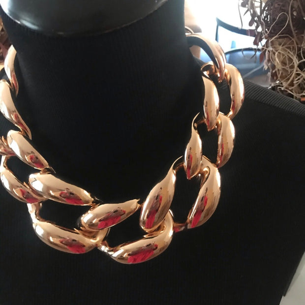 Godiva Gold Chain Link Statement Necklace
