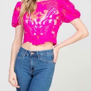 Love Like Ours Pink Lace Crop Top