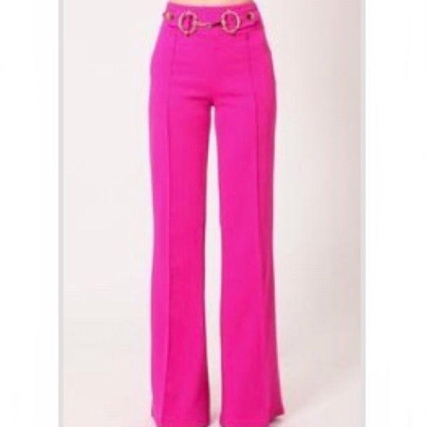 Leslie Gold Buckle Fuchsia Wide Leg Pants