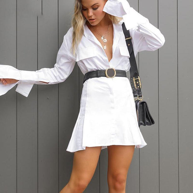 Elegant Flare Sleeve Shirt Dress